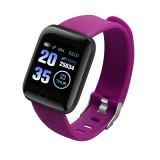116plus 1.3 inch Color Screen Smart Bracelet IP67 Waterproof, Support Call Reminder/ Heart Rate Monitoring / Blood Pressure Monitoring/ Sleep Monitoring/Excessive Sitting Reminder/Blood Oxygen Monitoring (Purple)