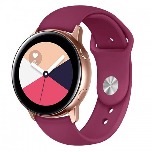 Monochrome Silicone Strap for Apply Samsung Galaxy Watch Active 20mm (Wine Red)