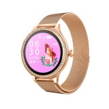 M8 1.04 inch IPS Color Screen Women Smartwatch IP68 Waterproof,Metal Watchband,Support Call Reminder / Heart Rate Monitoring/Blood Pressure Monitoring/Sleep Monitoring/Excessive Sitting Reminder/Menstrual Reminder (Gold)