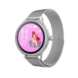 M8 1.04 inch IPS Color Screen Women Smartwatch IP68 Waterproof,Metal Watchband,Support Call Reminder / Heart Rate Monitoring/Blood Pressure Monitoring/Sleep Monitoring/Excessive Sitting Reminder/Menstrual Reminder (Silver)
