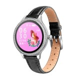 M8 1.04 inch IPS Color Screen Women Smartwatch IP68 Waterproof,Leather Watchband,Support Call Reminder/Heart Rate Monitoring/Blood Pressure Monitoring/Sleep Monitoring/Excessive Sitting Reminder/Menstrual Reminder (Black)