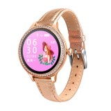 M8 1.04 inch IPS Color Screen Women Smartwatch IP68 Waterproof,Leather Watchband,Support Call Reminder/Heart Rate Monitoring/Blood Pressure Monitoring/Sleep Monitoring/Excessive Sitting Reminder/Menstrual Reminder (Gold)