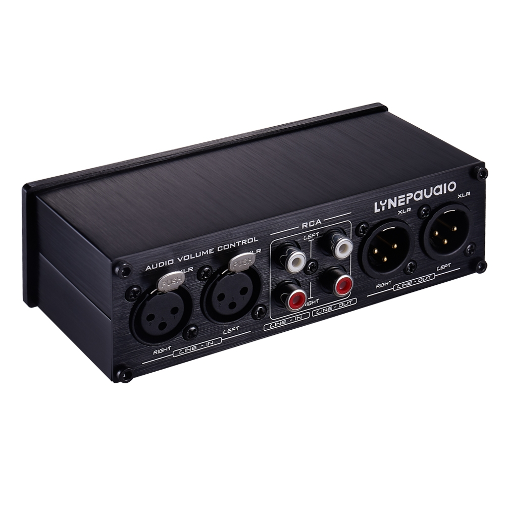 2 In and 2 Out Switcher Volume Controller, RCA signal switches to XLR balanced signal and no need for power supply. It provides RCA and XLR interfaces, independent L/R channel volume adjustment, which is suitable for devices with volume adjustment need