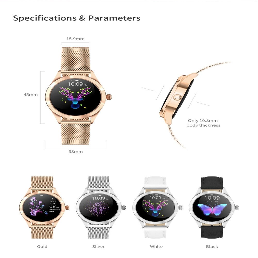 KW10 1.04 inch TFT Color Screen Smart Watch IP68 Waterproof,Metal Watchband,Support Call Reminder / Heart Rate Monitoring/Sedentary reminder/Sleep Monitoring/Predict Menstrual Cycle Intelligently (Silver)