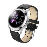 KW10 1.04 inch TFT Color Screen Smart Watch IP68 Waterproof,Leather Watchband,Support Call Reminder / Heart Rate Monitoring/Sedentary reminder/Sleep Monitoring/Predict Menstrual Cycle Intelligently (Black)