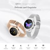 KW10 1.04 inch TFT Color Screen Smart Watch IP68 Waterproof,Leather Watchband,Support Call Reminder / Heart Rate Monitoring/Sedentary reminder/Sleep Monitoring/Predict Menstrual Cycle Intelligently (White)