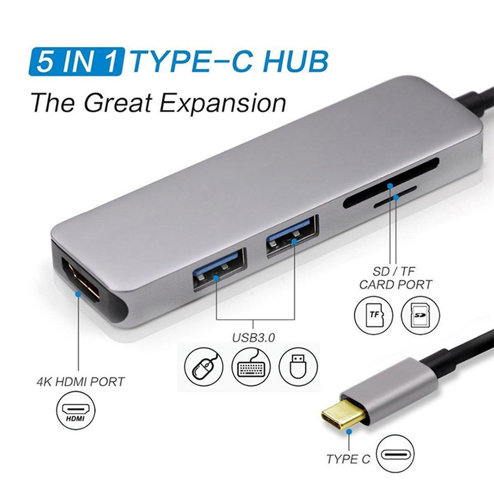 Type-C Type C Hub USB C USB3.1 Hub with HDMI 5 in 1 Combo Hub with 2 USB3.0 Ports SD TF Card Reader USB adapater (Gray)