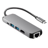 USB3.1 Hub Type-C To HDMI + Gigabit Ethernet Port + 2 Port USB3.0 + PD Adapter Cable for Macbook Pro