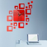 Home Mirror Surface Sticker Home Office Decorative Mirrors 3D Stereo Clock Acrylic Mirror Clock Block Combination Clock (Red)