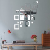 Home Mirror Surface Sticker Home Office Decorative Mirrors 3D Stereo Clock Acrylic Mirror Clock Block Combination Clock (Mirror Silver)