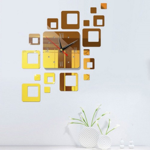 Home Mirror Surface Sticker Home Office Decorative Mirrors 3D Stereo Clock Acrylic Mirror Clock Block Combination Clock (Mirror Deep Gold)