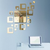 Home Mirror Surface Sticker Home Office Decorative Mirrors 3D Stereo Clock Acrylic Mirror Clock Block Combination Clock (Mirror Light Gold)