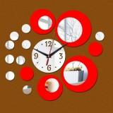 2 PCS 3D Stereo Decorative Clock Acrylic Digital Mirror Wall Sticker Wall Clock (Silver Red)