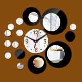 2 PCS 3D Stereo Decorative Clock Acrylic Digital Mirror Wall Sticker Wall Clock (Silver Black)