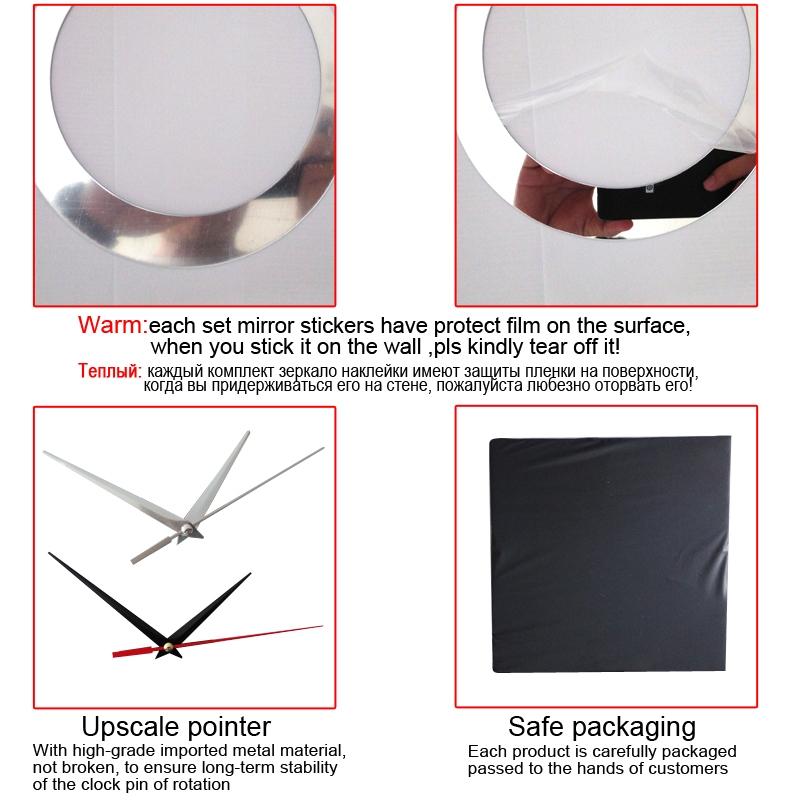 2 PCS 3D Stereo Decorative Clock Acrylic Digital Mirror Wall Sticker Wall Clock (Silver Black)