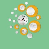 2 PCS 3D Stereo Decorative Clock Acrylic Digital Mirror Wall Sticker Wall Clock (Silver Gold)