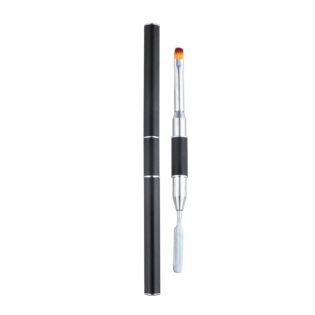 Dual Head Nail Art Acrylic UV Gel Extension Builder Drawing Brush Gel Polish Removal Spatula Stick Manicure Tool