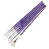 3 PCS Purple Pen Nail Manicure Brush Set Pen Painting Pen Row Pen Painting Pen Point Drill