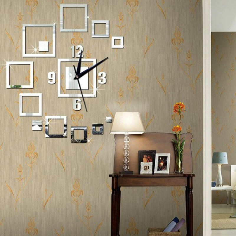 Wall Clocks Mirror 3d Stereo Acrylic Living Room Bedroom Decoration Wall Clock Fashion Diy Creative Wall Clock Sliver Alexnld Com