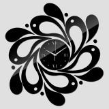 2 PCS Home Crystal Acrylic Quartz Mirror Clock Jewelry Clock Petal Pattern Clock (Black)