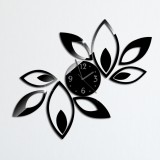 Flower Art Modern Design DIY Removable 3D Crystal Mirror Wall Clock Wall Sticker Living Room Bedroom Decor (Black)