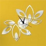 Flower Art Modern Design DIY Removable 3D Crystal Mirror Wall Clock Wall Sticker Living Room Bedroom Decor (Sliver)