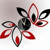 Flower Art Modern Design DIY Removable 3D Crystal Mirror Wall Clock Wall Sticker Living Room Bedroom Decor (Red+Black)