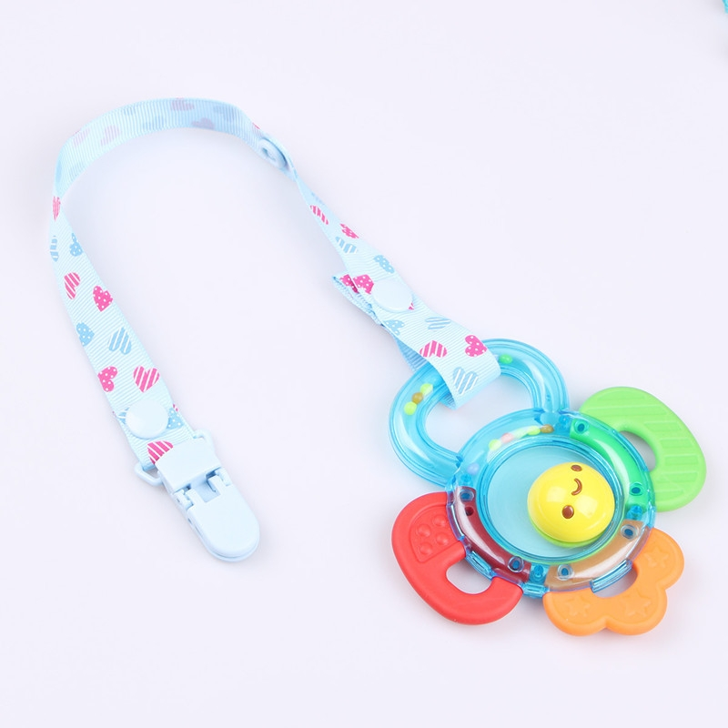 2 PCS Baby Pacifier Clip Pacifier Chain Dummy Clip Nipple Holder For Nipples Children Pacifier Clips Teether Anti-drop Rope (01 Dark blue love)