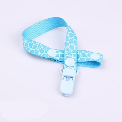 2 PCS Baby Pacifier Clip Pacifier Chain Dummy Clip Nipple Holder For Nipples Children Pacifier Clips Teether Anti-drop Rope (09 Sky blue animal print)
