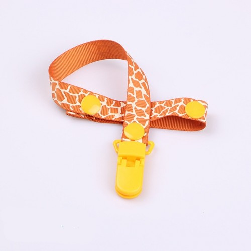 2 PCS Baby Pacifier Clip Pacifier Chain Dummy Clip Nipple Holder For Nipples Children Pacifier Clips Teether Anti-drop Rope (11Orange animal print)