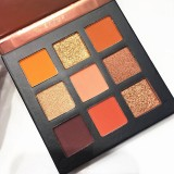 Eyeshadow Pallete Makeup Brushes 9 Color Palette Shimmer Pigmented Eye Shadow Maquillage (B)