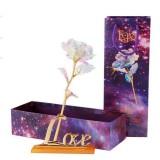 Valentine Day Creative Gift 24K Foil Plated Rose Gold Rose Lasts Forever Love Wedding Decor Lighting Rose (No Base Have light)