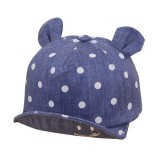 Cute Baby Hats Baby Boys Girls Kids Polka Dot Peak Hat Smiling Face Wave Point Baseball Cap Sunhat casquette enfant Baby Hat (Dark Blue)