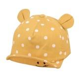 Cute Baby Hats Baby Boys Girls Kids Polka Dot Peak Hat Smiling Face Wave Point Baseball Cap Sunhat casquette enfant Baby Hat (Yellow)