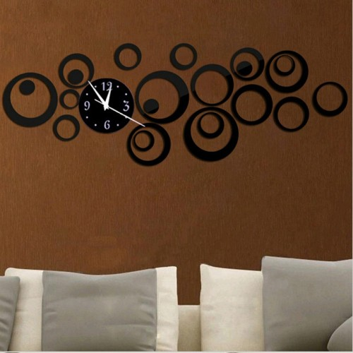 Wall Clock 3D Three-dimensional Acrylic Fashion Mirror Wall Stickers Clock DIY Circle Combination Decorative Clock (Black)