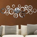 Wall Clock 3D Three-dimensional Acrylic Fashion Mirror Wall Stickers Clock DIY Circle Combination Decorative Clock (Sliver)