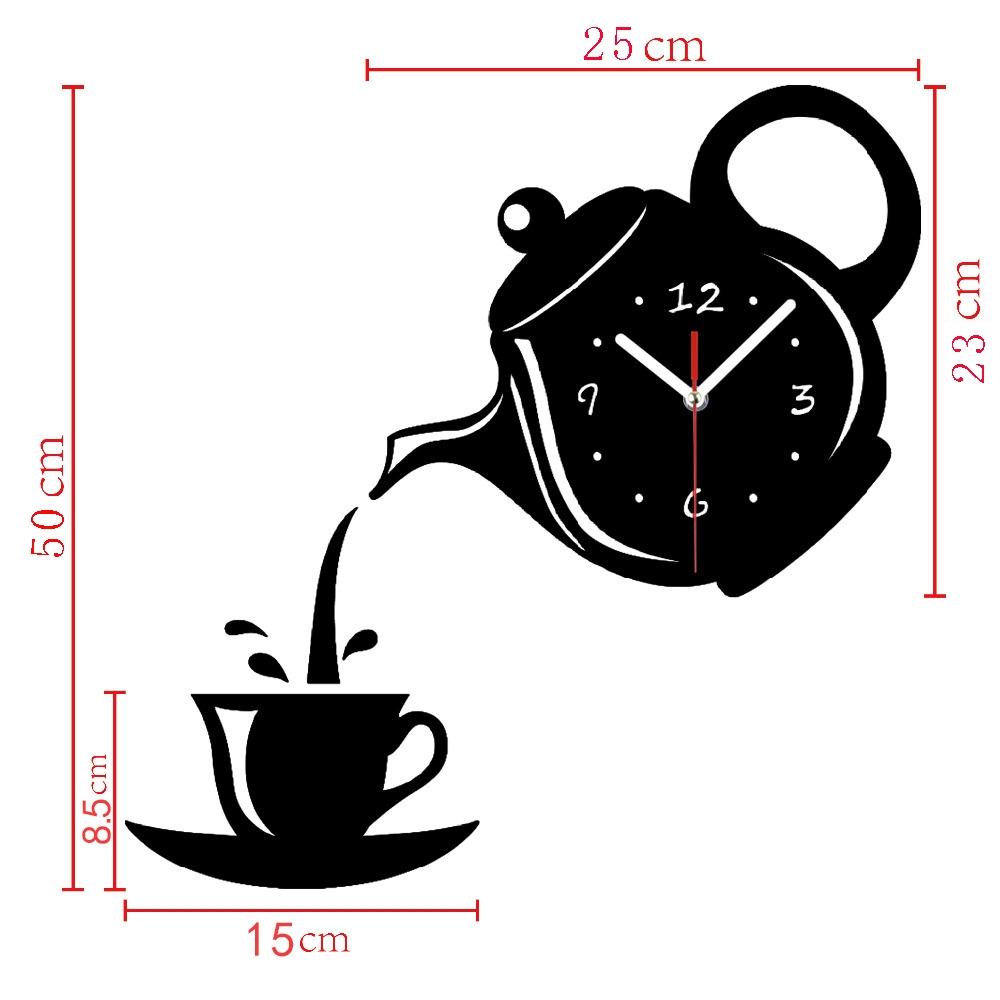 2 PCS Creative DIY Acrylic Coffee Cup Teapot 3D Wall Clock Decorative Kitchen Wall Clocks Living Room Dining Room Home Decor Clock (Red)