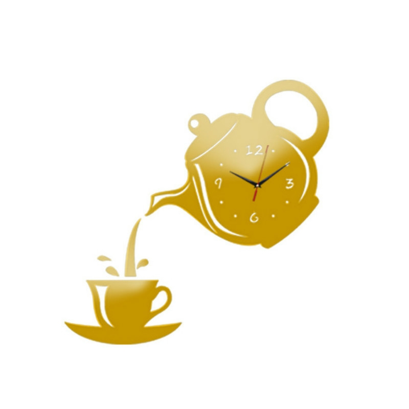 2 PCS Creative DIY Acrylic Coffee Cup Teapot 3D Wall Clock Decorative Kitchen Wall Clocks Living Room Dining Room Home Decor Clock (Gold)