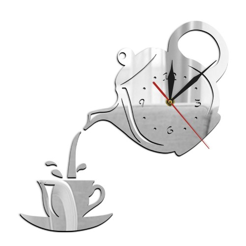 2 PCS Creative DIY Acrylic Coffee Cup Teapot 3D Wall Clock Decorative Kitchen Wall Clocks Living Room Dining Room Home Decor Clock (Sliver)