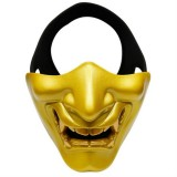 WosporT Halloween Dancing Party Grimace Half Face Tactical Mask (Gold)
