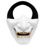 WosporT Halloween Dancing Party Grimace Half Face Tactical Mask (White)