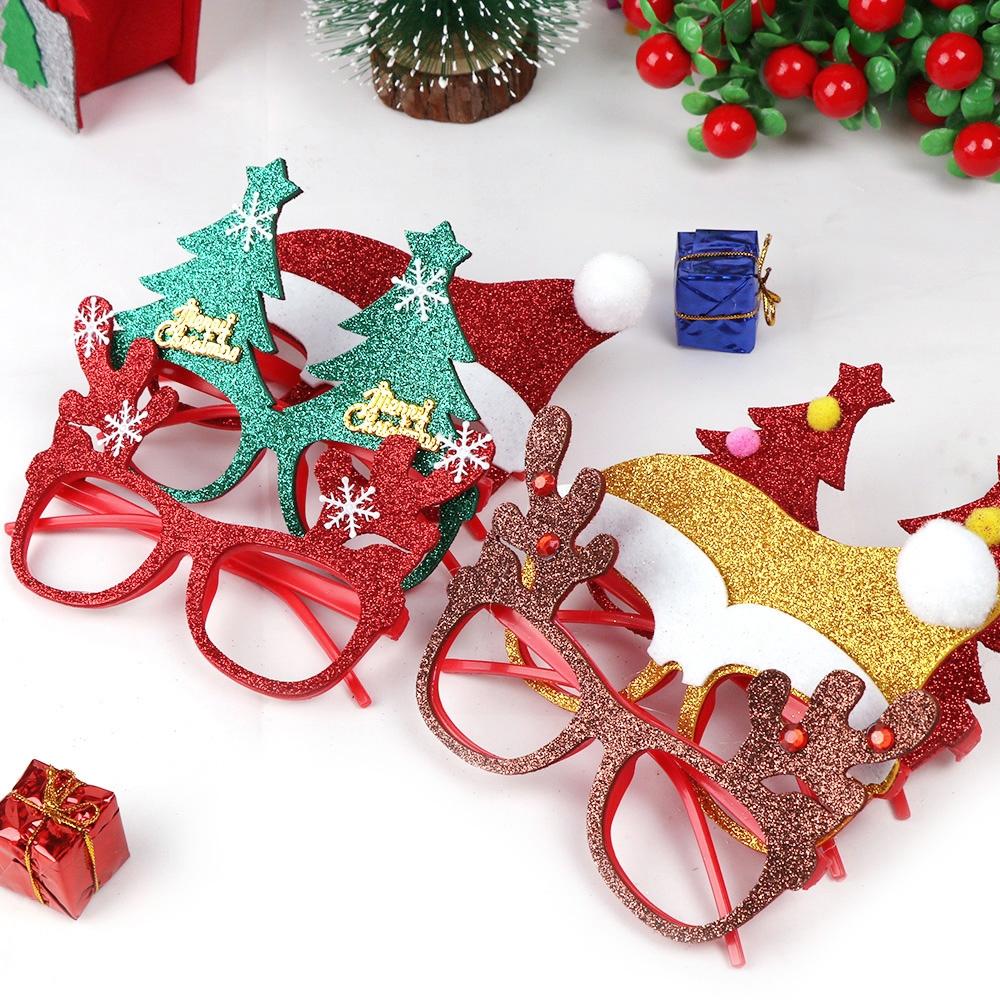 5 PCS Christmas Decoration Glasses Children Christmas Gift Holiday Supplies (Glitter MERRY CHRISTMAS decoration (Random Color)