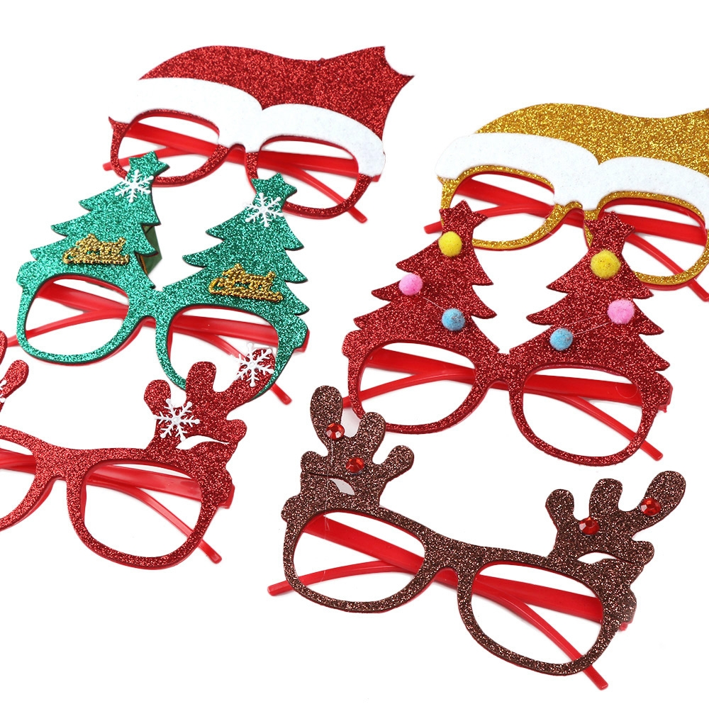 5 PCS Christmas Decoration Glasses Children Christmas Gift Holiday Supplies (Glitter Sticker Christmas Snowman)