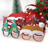 5 PCS Christmas Decoration Glasses Children Christmas Gift Holiday Supplies (Square glitter decorative red antlers)