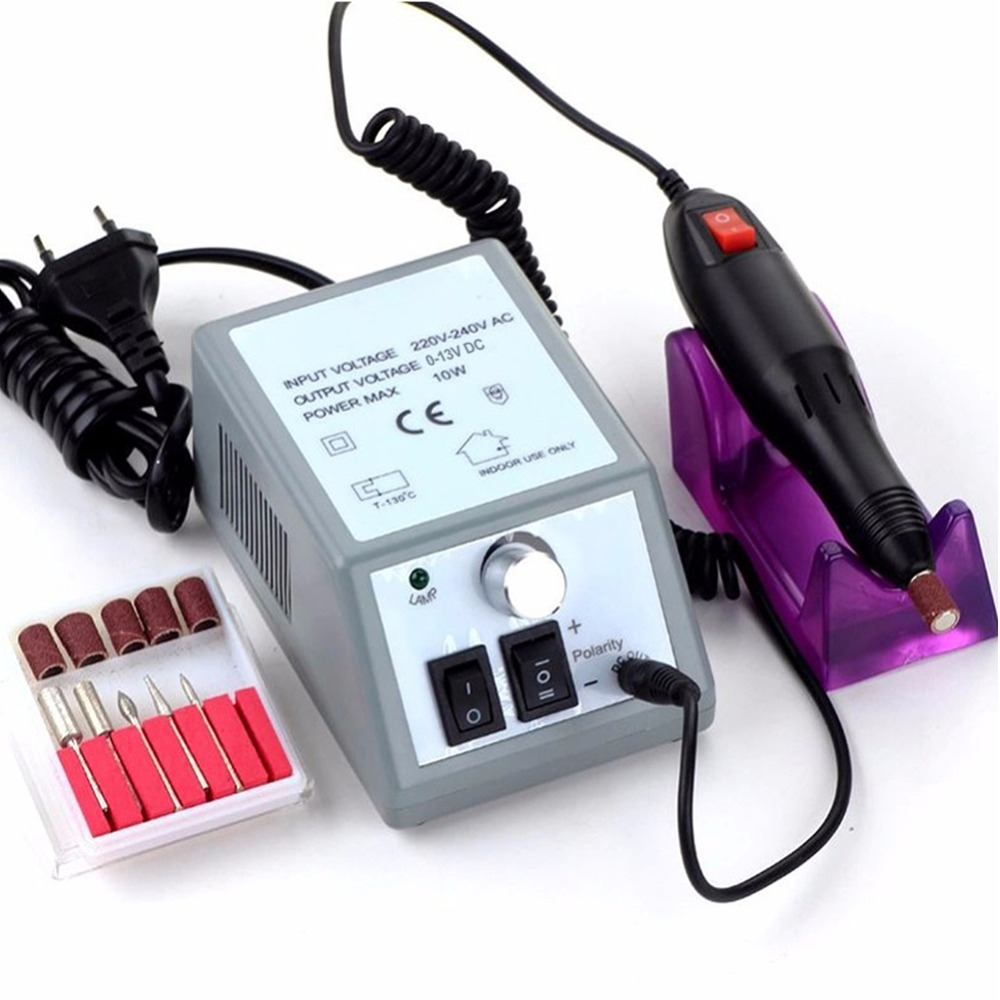 Professional Electric Nail Drill Manicure Machine Pedicure Nail Art Equipment Electronic Nail File with Drills 6 Bits (110V US)