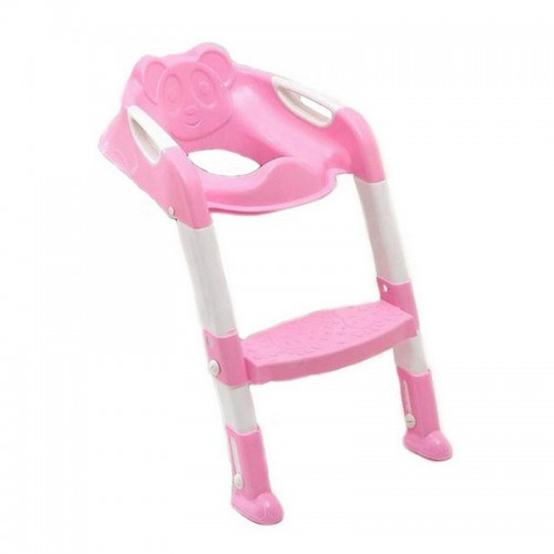 Baby Potty Training Seat Children Potty Baby Toilet Seat With Adjustable Ladder Infant Toilet Training Folding Safety Care Seat (Pink)