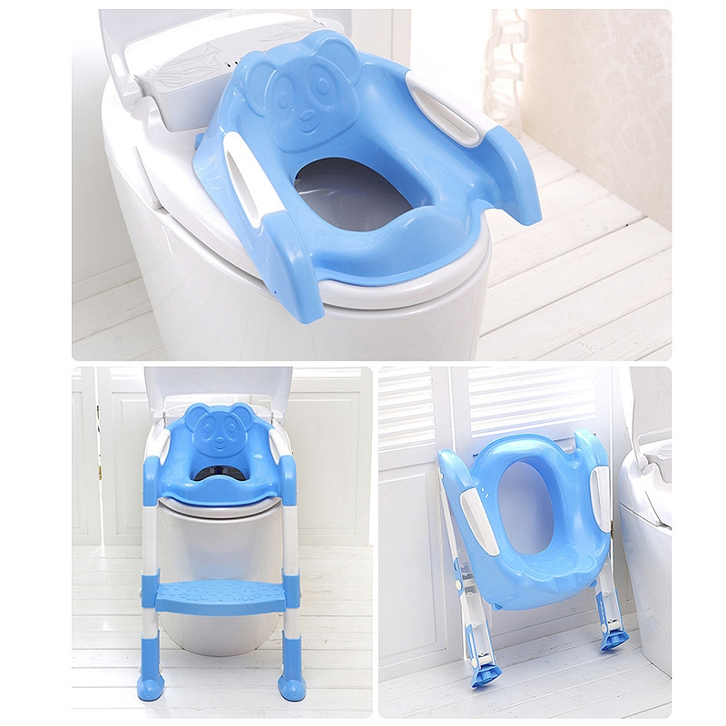 Baby Potty Training Seat Children Potty Baby Toilet Seat With Adjustable Ladder Infant Toilet Training Folding Safety Care Seat (Blue)