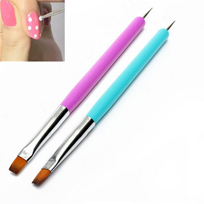 Nail Art Manicure Tools Lat Point Drill Dot UV Gel Nail Polish Painting Flower Pen Nails Brush Drawing Brush (Blue)