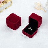 3 PCS Wedding Jewelry Accessories Squre Velvet Jewelry Box Jewelry Display Case Gift Boxes Ring Earrings Box (Jujube red)