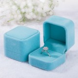 3 PCS Wedding Jewelry Accessories Squre Velvet Jewelry Box Jewelry Display Case Gift Boxes Ring Earrings Box (Sky blue)